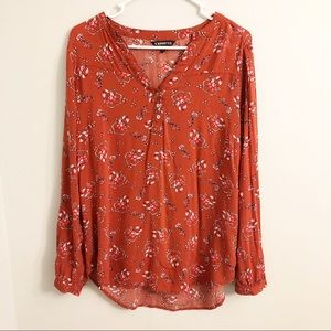 Express Orange Floral Peasant Style Blouse M